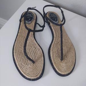 René Caovilla Black Rhinestone Thong Sandals 39